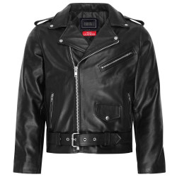 Mens Real Motorbike Motorcycle Leather Brando Jacket