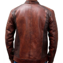 Cafe Racer Motorcycle Vintage Distressed Brown Waxed Biker Mens Leather Jacket
